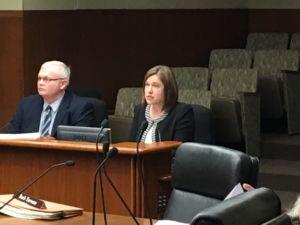 Board of Teaching executive director Erin Doan testifying at the Minnesota State Legislature.