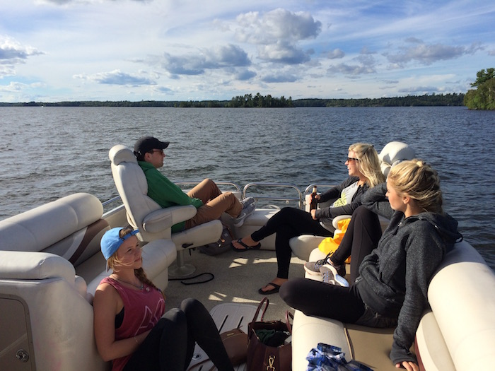 Part of our crew on a pontoon boat