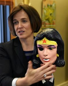 Minneapolis Mayor Betsy Hodges showed off her Wonder Woman memorabilia including a kid's halloween mask and costume in her City Hall office on Wednesday, May 20, 2015. (Pioneer Press: Scott Takushi)